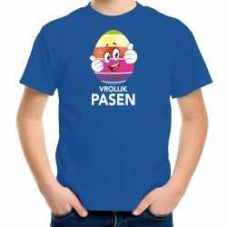 Paaseiduimen schuin omhoog vrolijk pasen t shirt blauw carnaval kinderen paas kleding / outfit