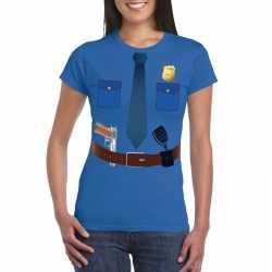 Politie uniform outfit t shirt blauw carnaval dames