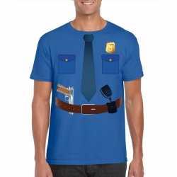 Politie uniform outfit t shirt blauw carnaval heren