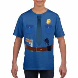 Politie uniform outfit t shirt blauw carnaval kinderen