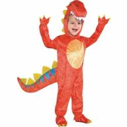 Rode dinosaurus outfit carnaval kinderen