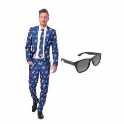 Verkleed amerikaanse vlag print net heren outfit maat 48 (m)gratis zo