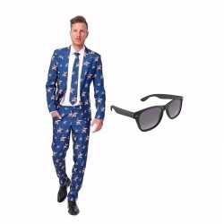 Verkleed amerikaanse vlag print net heren outfit maat 52 (xl)gratis z