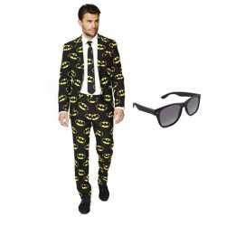 Verkleed batman print heren outfit maat 46 (s)gratis zonnebril