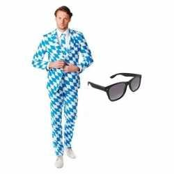 Verkleed beierse print heren outfit maat 48 (m)gratis zonnebril