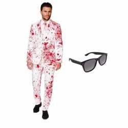 Verkleed bloed print heren outfit maat 50 (l)gratis zonnebril