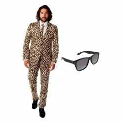 Verkleed bruinluipaard print heren outfit maat 46 (s)gratis zonnebril