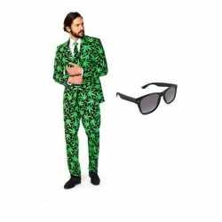 Verkleed cannabis print heren outfit maat 52 (xl)gratis zonnebril