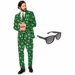 Verkleed cannabis print net heren outfit maat 56 xxxlgratis zonnebril