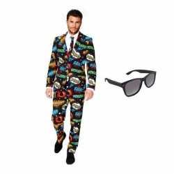 Verkleed comic print heren outfit maat 46 (s)gratis zonnebril