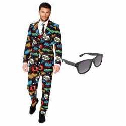 Verkleed comic print net heren outfit maat 54 (xxl)gratis zonnebril