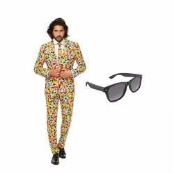 Verkleed confetti print net heren outfit maat 52 (xl)gratis zonnebril