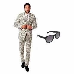 Verkleed dollar print heren outfit maat 48 (m)gratis zonnebril