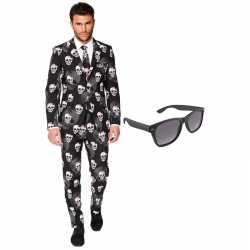 Verkleed doodshoofden print net heren outfit maat 54 (xxl)gratis zonn