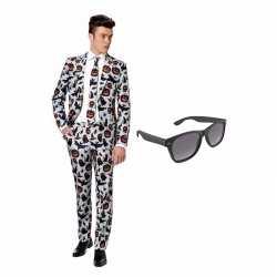 Verkleed halloween print net heren outfit maat 46 (s)gratis zonnebril