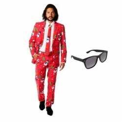Verkleed kerst print heren outfit maat 54 (2xl)gratis zonnebril
