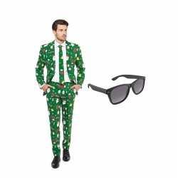Verkleed kerst print net heren outfit maat 48 (m)gratis zonnebril
