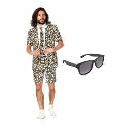 Verkleed luipaard print net heren outfit maat 46 (s)gratis zonnebril