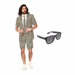 Verkleed luipaard print net heren outfit maat 50 (l)gratis zonnebril