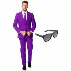 Verkleed paars net heren outfit maat 54 (xxl)gratis zonnebril