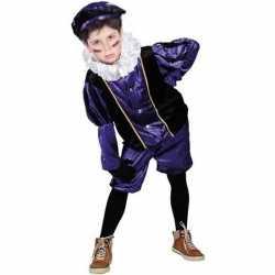 Verkleed pieten outfit zwart/paarsbaret carnaval kinderen sinterklaas