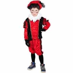 Verkleed pieten outfit zwart/roodbaret carnaval kinderen sinterklaas/
