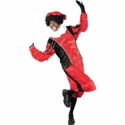 Verkleed pieten outfit zwart/roodbaret carnaval volwassenen sinterkla