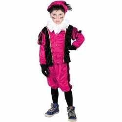 Verkleed pieten outfit zwart/rozebaret carnaval kinderen sinterklaas/