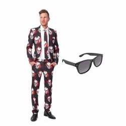 Verkleed schedel print net heren outfit maat 48 (m)gratis zonnebril
