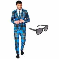 Verkleed schotse print net heren outfit maat 54 (xxl)gratis zonnebril