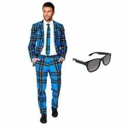 Verkleed schotse ruit print heren outfit maat 50 (l)gratis zonnebril