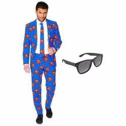 Verkleed superman net heren outfit maat 58 (xxxxl)gratis zonnebril