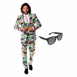 Verkleed televisie print heren outfit maat 50 (l)gratis zonnebril