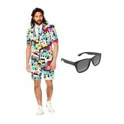 Verkleed testbeeld net heren outfit maat 48 (m)gratis zonnebril