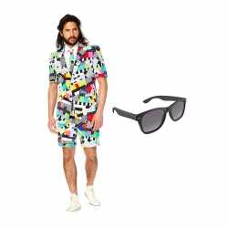 Verkleed testbeeld net heren outfit maat 50 (l)gratis zonnebril