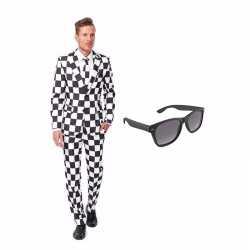 Verkleed zwart/wit geblokt print net heren outfit maat 46 (s)gratis z