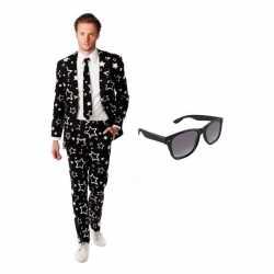Verkleed zwartsterren print heren outfit maat 50 (l)gratis zonnebril