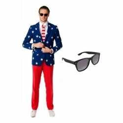 Verkleedamerikaanse vlag print heren outfit maat 50 (l)gratis zonnebr