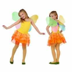 Vlinder jurk carnaval kinderen geel/oranje