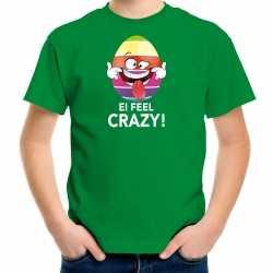 Vrolijk paasei ei feel crazy t shirt groen carnaval kinderen paas kleding / outfit