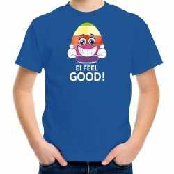 Vrolijk paasei ei feel good t shirt blauw carnaval heren paas kleding / outfit