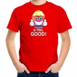 Vrolijk paasei ei feel good t shirt rood carnaval heren paas kleding / outfit