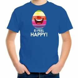 Vrolijk paasei ei feel happy t shirt blauw carnaval kinderen paas kleding / outfit
