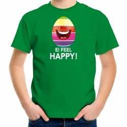 Vrolijk paasei ei feel happy t shirt groen carnaval kinderen paas kleding / outfit