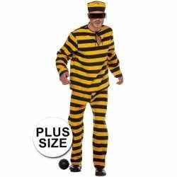 XL inbreker outfit zwart/geel carnaval heren