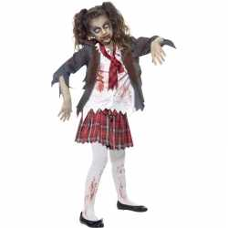Zombie schoolmeisje outfit carnaval meisjes