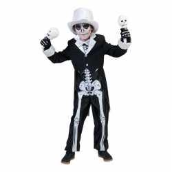 Zwart skelet outfit carnaval jongens