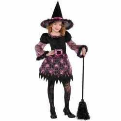 Zwartroze heksen outfit carnaval meisjes